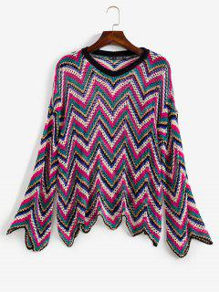 Zickzack Durchbrochener Pullover - Multi