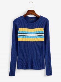 ZAFUL Stripes Panel Ribbed Sweater - Deep Blue S