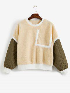 Sweatshirt Patchwork En Velours - Soie De Maïs Xl