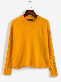 Ribbed Sleeve Drop Shoulder Sweater - School Bus Yellow S