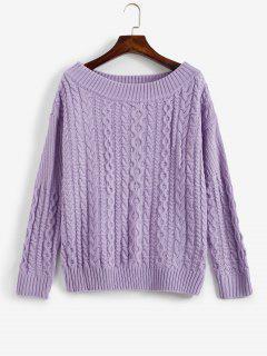 Off Shoulder Cable Knit Sweater - Mauve