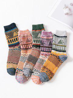 5 Pairs Colorblock Pattern Socks Set - Multi-a