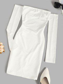 Off The Shoulder Lace-up Fleece Lined Slinky Dress - White M