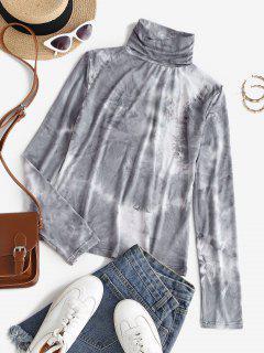 Turtleneck Tie Dye Layering Tee - Gray M