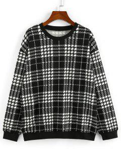 ZAFUL Drop Shoulder Plaid Sweatshirt - Black M