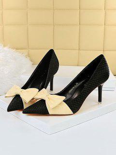 Zapatos De Tacón Alto Tejido Con Lazo - Negro Eu 40