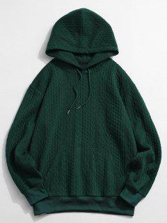 Front Pocket Embossed Pattern Solid Hoodie - Deep Green M