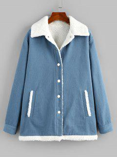 ZAFUL Faux Shearling Lined Borg Collar Pocket Coat - Slate Blue S