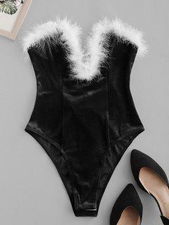 ZAFUL Faux Feather Lace Up Velvet V Wired Bandeau Bodysuit - Black L