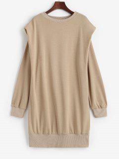 Crewneck Shoulder Pads Sweatshirt Dress - Light Coffee Xl