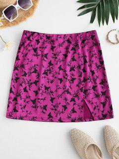 ZAFUL Slit Butterfly Print Mini Skirt - Rose Red M