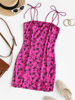 ZAFUL Slit Butterfly Print Mini Bodycon Dress - Rose Red Xl