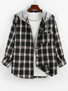 ZAFUL Plaid Model De Buzunar Colorblock Hooded Shirt - Multi-b S
