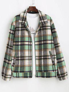 Plaid Pattern Zip Up Wool Jacket - Light Green L