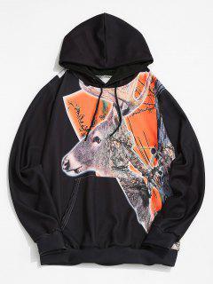 Christmas Elk Print Kangaroo Pocket Drawstring Hoodie - Black L