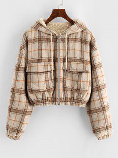ZAFUL Plaid Hooded Fleece Lined Pocket Jacket - Tan S