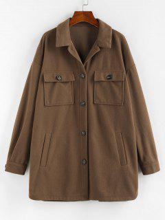ZAFUL Flap Pocket Drop Shoulder Button Front Tunic Coat - Brown Bear S