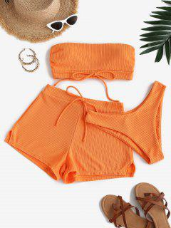 ZAFUL Ribbed Bowknot Bandeau Three Piece Bikini Swimwear - Orange S