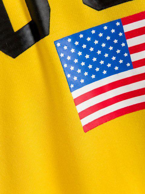 ZAFUL Sudadera con Capucha con Estampado de Bandera Americana - Multicolor M Mobile