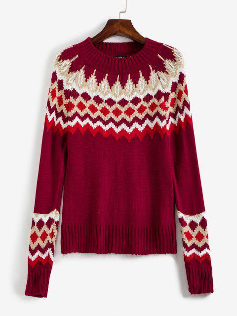 ZAFUL Stehkragen Intarsia Knit Graphik Weihnachten Pullover - Multi L Mobile