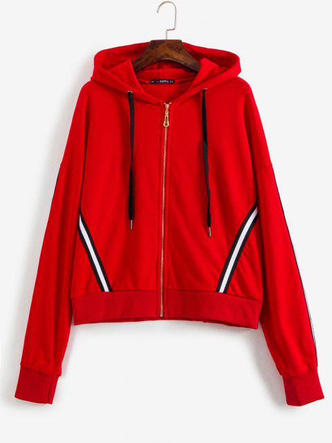 ladies Sporty Stripes Zip Up Hoodie - LAVA RED M Mobile