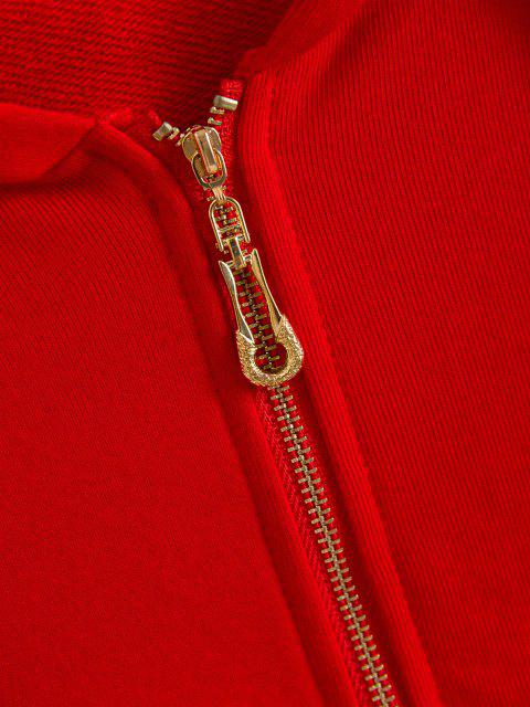lady Sporty Stripes Zip Up Hoodie - LAVA RED L Mobile