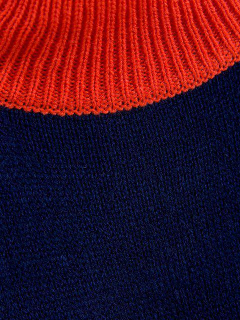 ZAFUL Zweifarbiger Pullover mit Hohem Kragen - Schockierendes Orange L Mobile