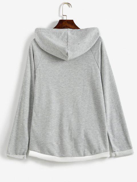 shops Loose Raglan Sleeve Contrasting Hoodie - LIGHT GRAY M Mobile