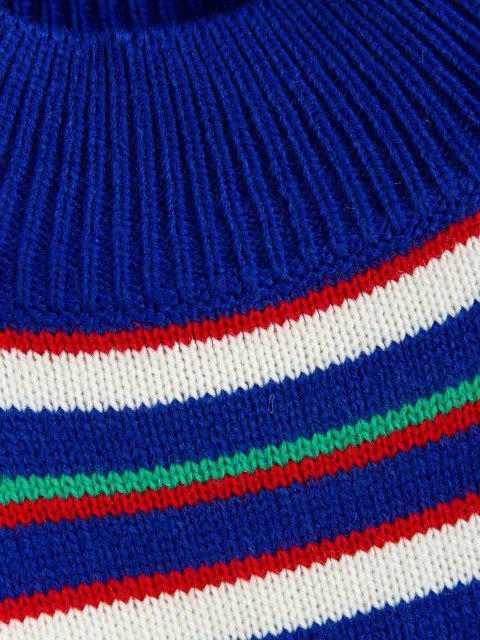 chic ZAFUL Striped Mock Neck Sweater - BLUEBERRY BLUE L Mobile