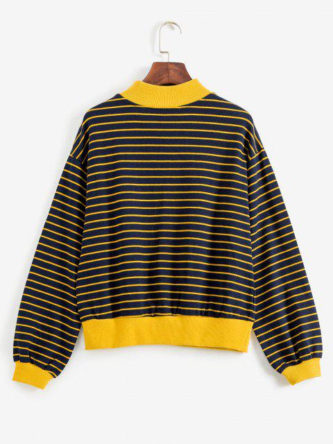 trendy Knotted Striped Sweatshirt - DARK SLATE BLUE ONE SIZE Mobile