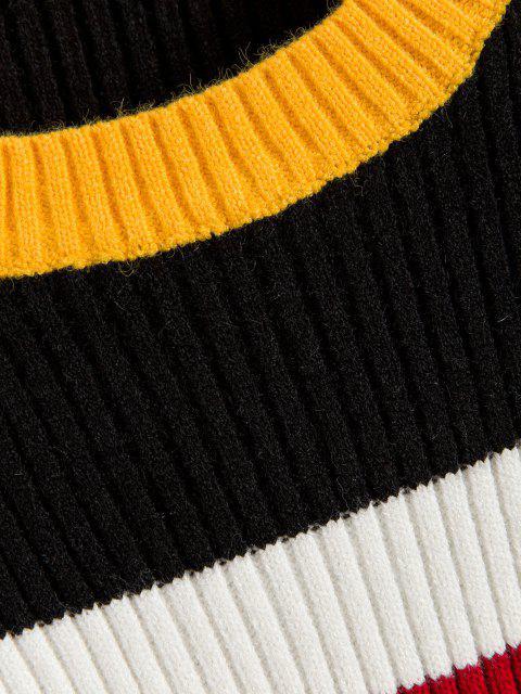 配色リブ付きセーター - ブラック ワンサイズ Mobile
