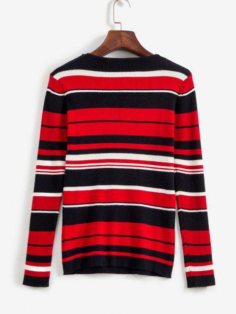 women's Tricolor Cozy Striped Pullover Sweater - MULTI S Mobile