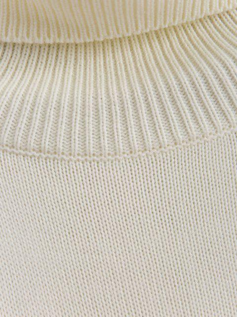 Streifen Rollkragen Pullover - Weiß S Mobile