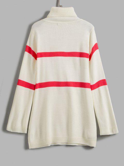 women ZAFUL Stripe Turtleneck Sweater - WHITE L Mobile