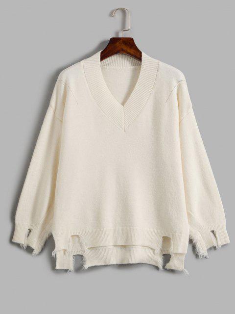 Camisola desproporcional rasgada com gargantilha solta - Branco Um Tamanho Mobile