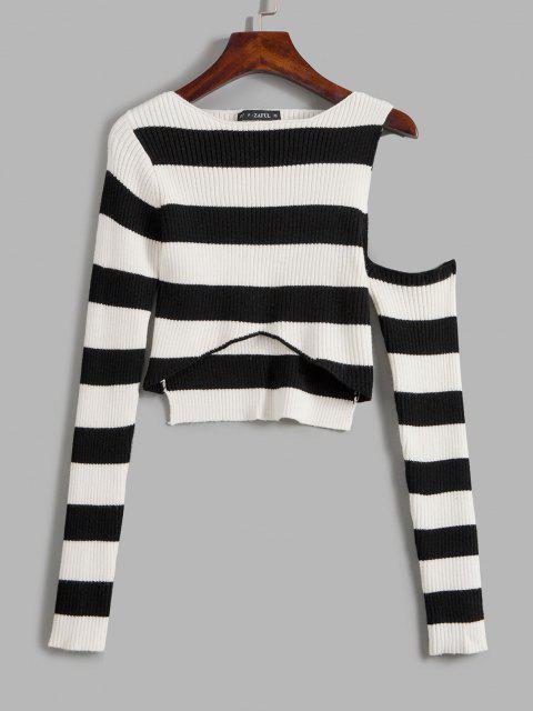 Suéter Alto-Baixo com Listrado em Contraste - Preto Um Tamanho Mobile