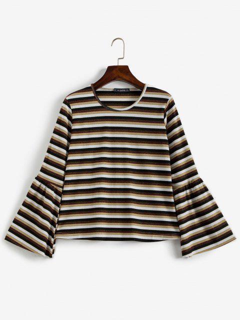 Gerippter Glitzer Streifen Bell Ärmel Sweater - Multi S Mobile