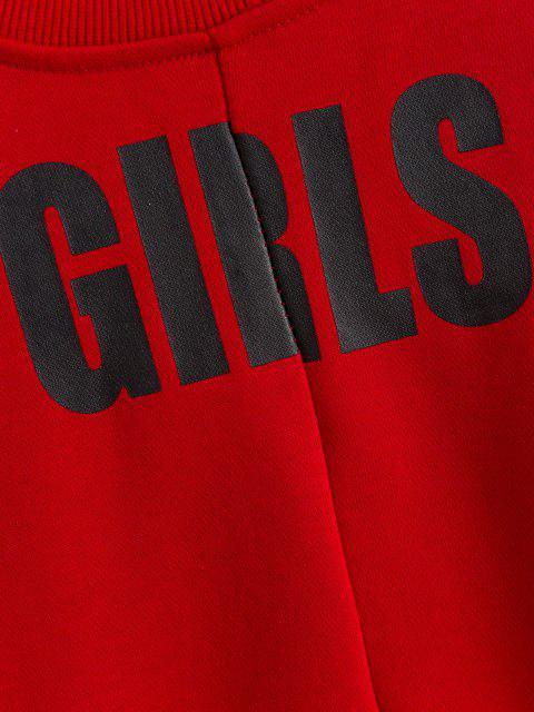 fancy Grommet Tied Asymmetric Sweatshirt - LOVE RED S Mobile