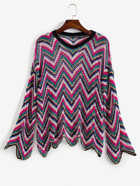 fashion Zig Zag Openwork Sweater - MULTI ONE SIZE Mobile