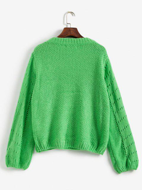 outfits Open Knit Sweater Jumper - GREEN M Mobile