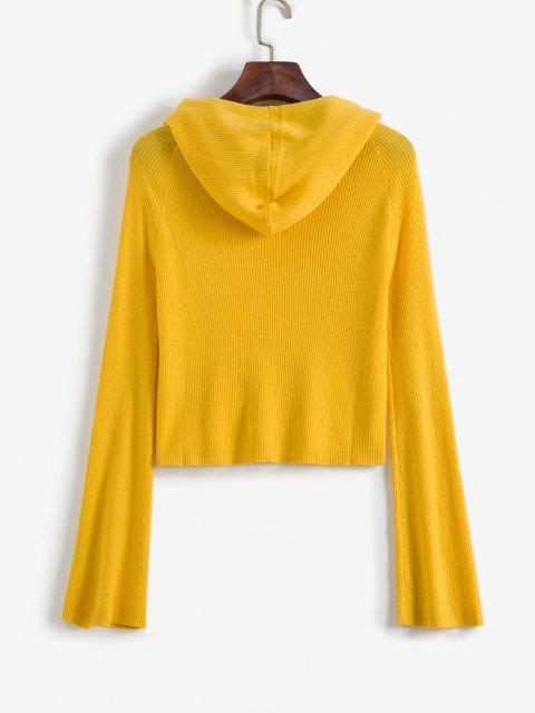lady ZAFUL Ribbed Hooded Cropped Sweater - YELLOW L Mobile