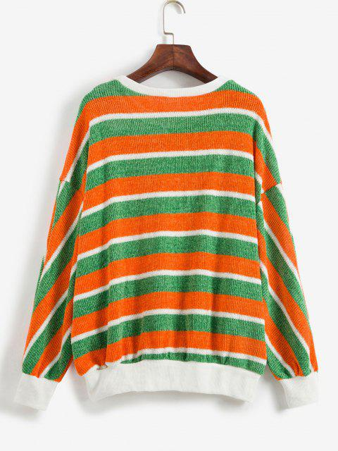 fashion ZAFUL Contrast Striped Sparkly Christmas Sweater - MULTI S Mobile