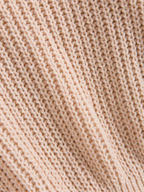 womens ZAFUL Shiny Thread Ruffles Sweater - LIGHT PINK ONE SIZE Mobile