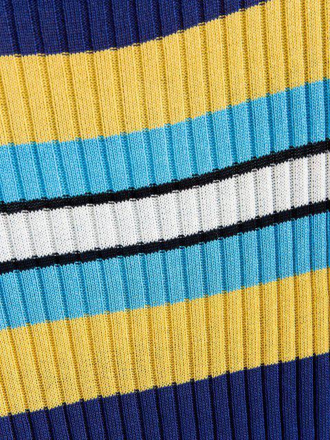 ZAFUL Camisola com Nervuras do Painel Listrado - Azul Escuro S Mobile