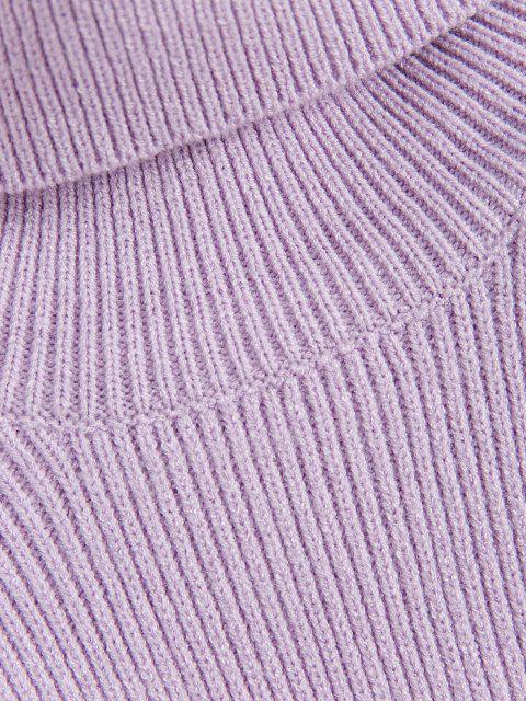 buy Two Tone Turtleneck Slim Sweater - PURPLE ONE SIZE Mobile