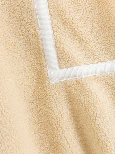 best Patchwork Fuzzy Sweatshirt - CORNSILK XL Mobile