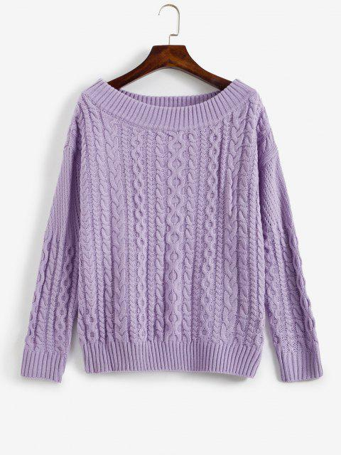 sale Off Shoulder Cable Knit Sweater - MAUVE ONE SIZE Mobile