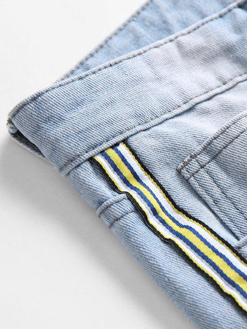 online Distressed Destroy Wash Striped Patch Jeans - DENIM BLUE 38 Mobile