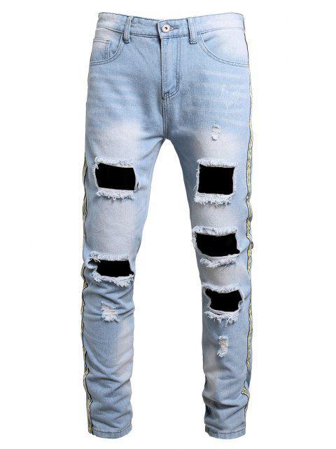 Jeans Strappati con Toppa a Righe con Lavaggio Slavato - Blu Denim 38 Mobile