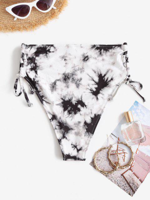 hot ZAFUL Ribbed Tie Dye Lace Up Bikini Bottom - BLACK M Mobile